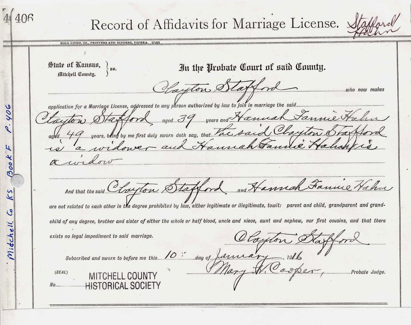 Clayton alonzo stafford stafford hahn marriage record aiddatafo Choice Image
